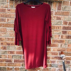 Dark Red Long Ruffle Sleeve Dress